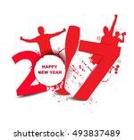 new year 2017 in white... | Shutterstock .eps vector #493837489