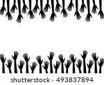 black silhouette hands reach to ...   Shutterstock .eps vector #493837894