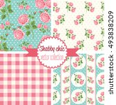 shabby chic rose patterns. set... | Shutterstock .eps vector #493838209