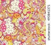 tracery seamless calming... | Shutterstock .eps vector #493841371