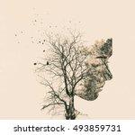 double exposure portrait of... | Shutterstock . vector #493859731