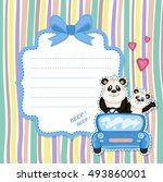 daddy and baby panda in a blue... | Shutterstock . vector #493860001
