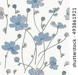 cosmos flowers in blue and gray ... | Shutterstock .eps vector #493861921