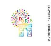 paris arc de triomphe sign....   Shutterstock .eps vector #493862464