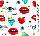 fashion patch badges with lips  ... | Shutterstock .eps vector #493863145