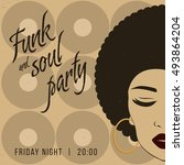 funk and soul disco party event ... | Shutterstock .eps vector #493864204