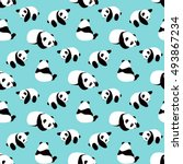 panda bear vector background.... | Shutterstock .eps vector #493867234