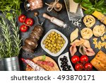italian food ingredients | Shutterstock . vector #493870171