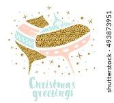 christmas balls withl gold... | Shutterstock .eps vector #493873951