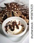 Small photo of Chocolate fondant served with vanilla ice cream