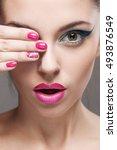 beauty portrait of a girl.... | Shutterstock . vector #493876549