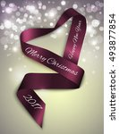 christmas decoration of purple... | Shutterstock .eps vector #493877854