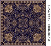 design for square pocket  shawl ... | Shutterstock .eps vector #493879249
