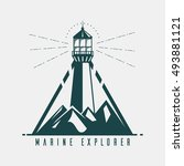 old banner with lighthouse in... | Shutterstock .eps vector #493881121