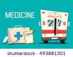 first aid kit and ambulance car ... | Shutterstock .eps vector #493881301