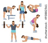 isolated set of male fitness... | Shutterstock .eps vector #493882561