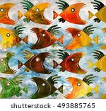 batik pattern grunge fish style | Shutterstock . vector #493885765