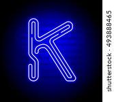 realistic neon letter k.... | Shutterstock .eps vector #493888465