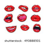vector stickers kit of female... | Shutterstock .eps vector #493888501