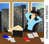 beautiful businesswoman sitting ... | Shutterstock . vector #49388902