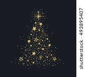 hand drawn golden glitter... | Shutterstock .eps vector #493895407