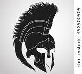 spartan helmet silhouette ... | Shutterstock .eps vector #493900909