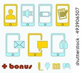 phone icons . blue and yellow...