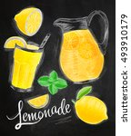 lemonade elements chalk... | Shutterstock .eps vector #493910179