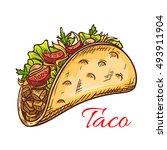 mexican beef taco with fresh... | Shutterstock .eps vector #493911904