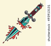 old school dagger tattoo... | Shutterstock .eps vector #493913131