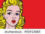 pop art vector illustrations.... | Shutterstock .eps vector #493915885