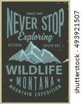 vintage vector of wilderness... | Shutterstock .eps vector #493921507