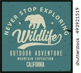 vintage vector of wilderness... | Shutterstock .eps vector #493921519