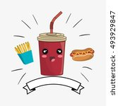 soda drink kawaii cartoon | Shutterstock .eps vector #493929847
