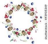 forest wreath  red berries ... | Shutterstock . vector #493935349