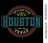 houston  texas linear logo... | Shutterstock .eps vector #493939255
