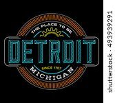 detroit  michigan linear logo... | Shutterstock .eps vector #493939291