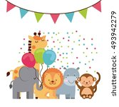 animal cute birthday party... | Shutterstock .eps vector #493942279