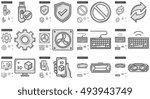 gadgets vector line icon set... | Shutterstock .eps vector #493943749