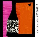 happy new year 2017 retro...   Shutterstock .eps vector #493944211