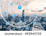 icons of wifi  internet ... | Shutterstock . vector #493945735