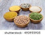 set of cereals  peas  rice ... | Shutterstock . vector #493955935