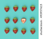 outstanding slice red... | Shutterstock . vector #493957615