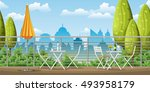 illustration of a balcony  a... | Shutterstock .eps vector #493958179