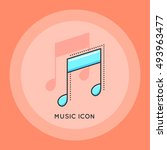 music note icon. melody thin...