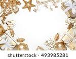 golden christmas decorations on ... | Shutterstock . vector #493985281