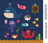 under the sea vector... | Shutterstock .eps vector #493995355