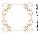 gold vintage baroque element... | Shutterstock .eps vector #493997029