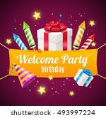 welcome birthday card with... | Shutterstock . vector #493997224