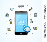 doctor call. illustration of... | Shutterstock . vector #494000701